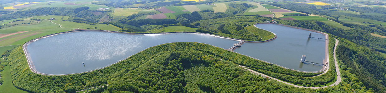 Hydro-technology, arial view of an artificial lake