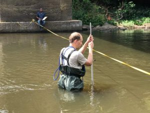 Jens Mödinger doing discharge measurements at the Seli River