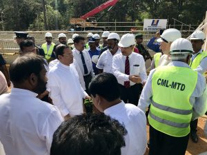 Maithripala Sirisena, President of Sri Lanka, at the groundbreaking ceremony for the Kaluganga – Moragahakanda Transfer Canal