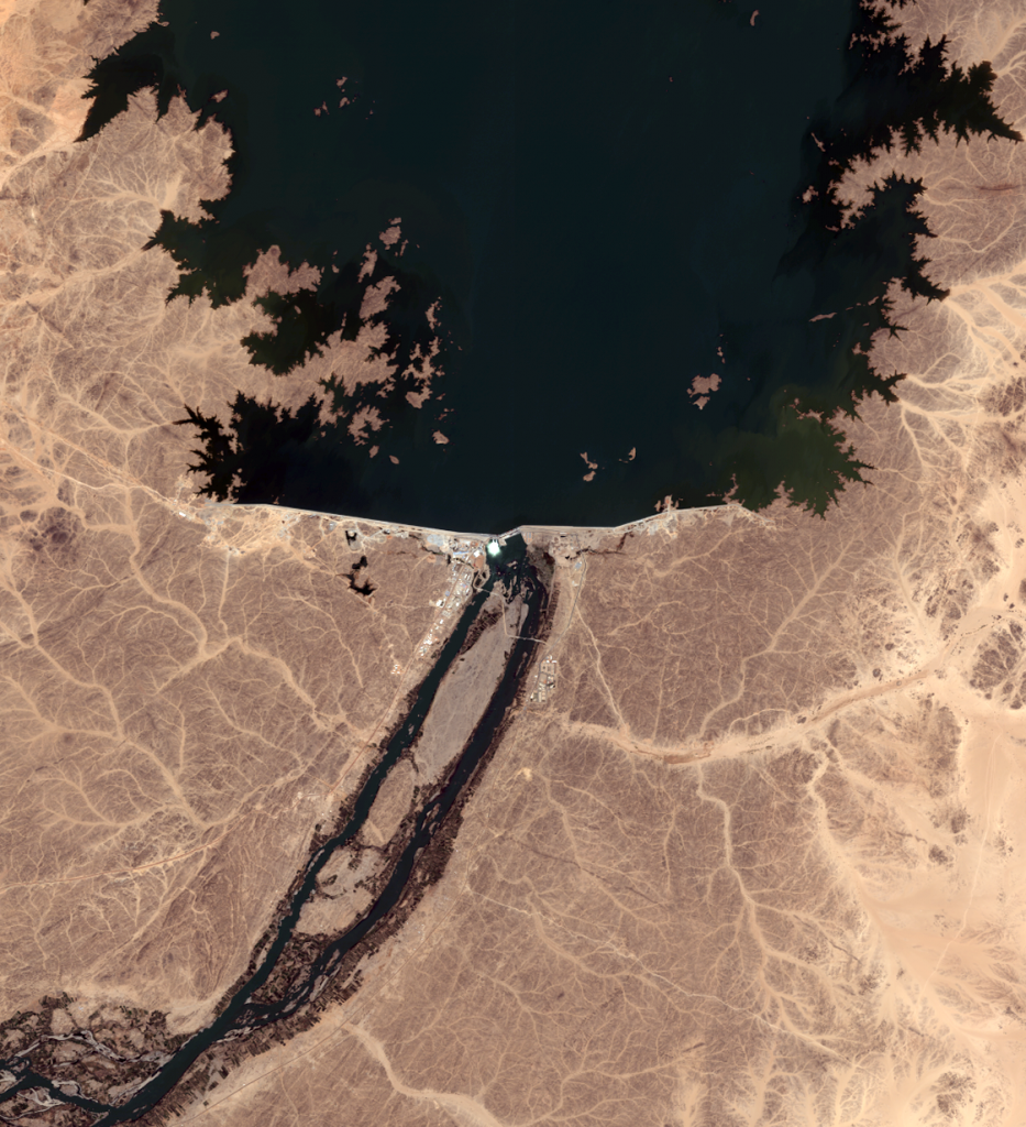 Merowe Hydropower Plant in Sudan, recorded by Quickbird Satellite