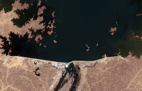 Satellite images of the Merowe Hydropower Plant in Sudan, recorded by Quickbird Satellite